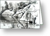 Grey Drawings Greeting Cards - Reflections at Elephant Rocks State Park No I102 Greeting Card by Kip DeVore