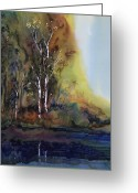 Batik Greeting Cards - Reflections Greeting Card by Carolyn Doe
