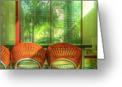 Wicker Chairs Greeting Cards - Reflections Greeting Card by Debra and Dave Vanderlaan