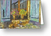 Stone Pastels Greeting Cards - Reflections In A Window Greeting Card by Carol Wisniewski