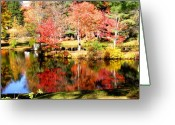 Nh Greeting Cards - Reflections in NH Pond Greeting Card by Janice Paige Chow