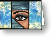 Nudes Glass Art Greeting Cards - Reflections in Ones Eye Greeting Card by Valerie Lynn
