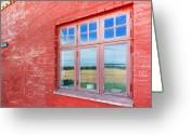 Fyn Greeting Cards - Reflections in the Old Mill House Window Greeting Card by Robert Lacy