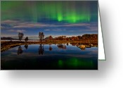 Canon 5d Mk2 Greeting Cards - Reflections in the pond Greeting Card by Frank Olsen