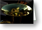 Brass Instruments Greeting Cards - Reflections in Tuba Art   Greeting Card by Steven  Digman