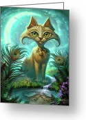 Feline Painting Greeting Cards - Reflections Greeting Card by Jeff Haynie