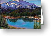 Snow Capped Painting Greeting Cards - Reflections Greeting Card by Johnathan Harris