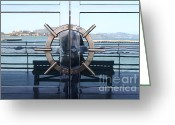 Alcatraz Greeting Cards - Reflections of Alcatraz Island at The Maritime Museum in San Francisco California . 7D14080 Greeting Card by Wingsdomain Art and Photography