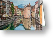 Town Painting Greeting Cards - Reflections Of Annecy Greeting Card by Charlotte Blanchard