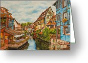 Landscape Posters Painting Greeting Cards - Reflections of Colmar Greeting Card by Charlotte Blanchard