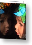 Little Girls Greeting Cards - Reflections of Isabella Greeting Card by Karen Wiles