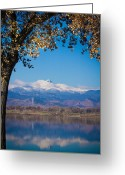 Mountains Photographs Greeting Cards - Reflections of Longs Peak Vertical Image Greeting Card by James Bo Insogna