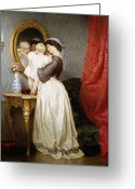 Caring Greeting Cards - Reflections of Maternal Love Greeting Card by Robert Julius Beyschlag