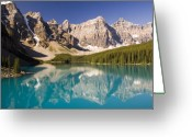 Glacier Greeting Cards - Reflections of Moraine Lake Greeting Card by Andrew Serff