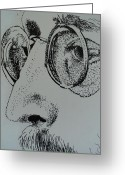 Peace Drawings Greeting Cards - Reflections of Peace John Lennon Greeting Card by Carla Carson