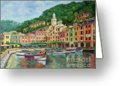 Restaurant Greeting Cards - Reflections Of Portofino Greeting Card by Charlotte Blanchard