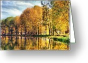 Autumn Leaves Pastels Greeting Cards - Reflections of Swan Lake Greeting Card by Russ Harris