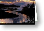 Stormy Skies Greeting Cards - Reflections On The Firehole River Greeting Card by Sandra Bronstein