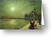 Moonlight Greeting Cards - Reflections on the Thames Greeting Card by John Atkinson Grimshaw