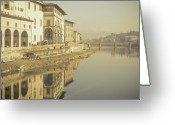 Florence Greeting Cards - Reflections Over Arno River, Florence, Italy Greeting Card by Gil Guelfucci