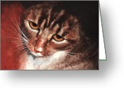 Egg Tempera Greeting Cards - Reflective Kitty Greeting Card by Tricia Griffith