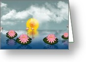 Lily Pad Greeting Cards Greeting Cards - Reflet Tropicale - Tropical Reflection Greeting Card by Linda Allan