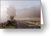 Lyrical Greeting Cards - Refreshing Morning Fog in Trossachs. Scotland Greeting Card by Jenny Rainbow
