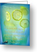 Summertime Drink Greeting Cards - Refreshment with Scripture Greeting Card by Cindy Wright