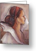 Head Greeting Cards - Regal Greeting Card by Jacque Hudson-Roate