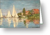 Argenteuil Greeting Cards - Regatta at Argenteuil Greeting Card by Claude Monet