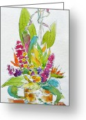 South Seas Greeting Cards - Regatta Tropical Floral Greeting Card by Pat Katz