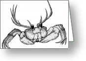 Horns Greeting Cards - Reincrab Greeting Card by Karl Addison