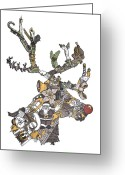 Yellow Drawings Greeting Cards - Reindeer Games Greeting Card by Tyler Auman