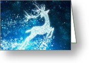 Xmas Greeting Cards - Reindeer stars Greeting Card by Setsiri Silapasuwanchai