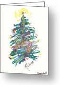 Holiday Notecard Greeting Cards - Rejoice Christmas Tree Greeting Card by Michele Hollister - for Nancy Asbell