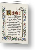 Catholic Painting Greeting Cards - Rejoice II Greeting Card by Judy Dodds