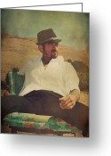 Male Portraits Greeting Cards - Relax And Stay A While Greeting Card by Laurie Search