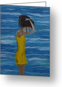 Woman In Pool Greeting Cards - Relaxing Breeze Greeting Card by Leslie Allen