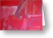 Person Pastels Greeting Cards - Relaxing In Red Greeting Card by Rory  Sagner