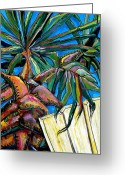 Tropical Beach Painting Greeting Cards - Relaxing Greeting Card by Patti Schermerhorn