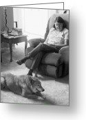 Reminiscing Greeting Cards - Relaxing with the Worlds Best Dog 2 Greeting Card by Lenore Senior