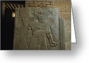 Aristocracy And Royalty Greeting Cards - Relief Sculpture Of Assyrian King Greeting Card by Randy Olson
