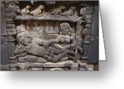 Borobudur Greeting Cards - Relief Sculpture On Temples Greeting Card by Paul Chesley
