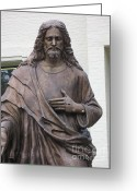Sculture Greeting Cards - Religious Jesus Statue - Christian Art Greeting Card by Kathy Fornal