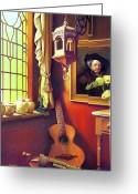 Stained Greeting Cards - Rembrandts Hurdy-Gurdy Greeting Card by Patrick Anthony Pierson