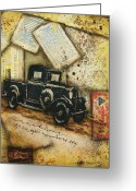 Ephemera Collage Greeting Cards - Remembered Days Greeting Card by Kathy Cameron
