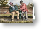 Elderly Painting Greeting Cards - Remembering The Good Times Greeting Card by Sam Sidders