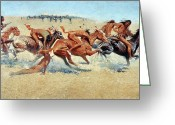 Remington Greeting Cards - Remington: Indian Warfare Greeting Card by Granger