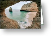 Physical Geography Greeting Cards - Remote Beach In Lagoa, Portugal Greeting Card by © Allard Schager
