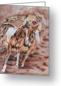Charro Greeting Cards - Remount Greeting Card by Dee Elliott